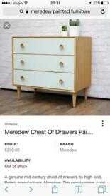 Chest of drawers by Meredew / set of three / stunning furniture / 07505769848
