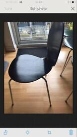 6 x black wooden chairs