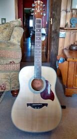 Acoustic Guitar, Crafter D-6, with hard tweed effect case. Hardly used in extreemly good condition.