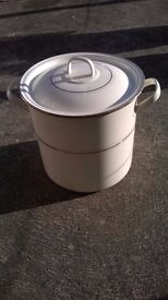 Unusual large cream and gold vintage enamel bin with lid