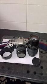 Canon 500n film camera,with 100/300 Telephoto,and 18/55 lense all in good condition