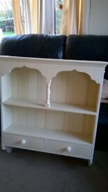 Shabby Chique Pine Shelving and Drawer Unit - Cream