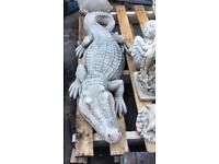 Large stone garden crocodile, fantastic detail. New