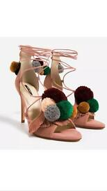 Brand new THIS SEASON ZARA leather high heels sandals pom poms size 7