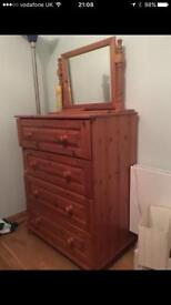 Solid pine chest of drawers with separate matching mirror