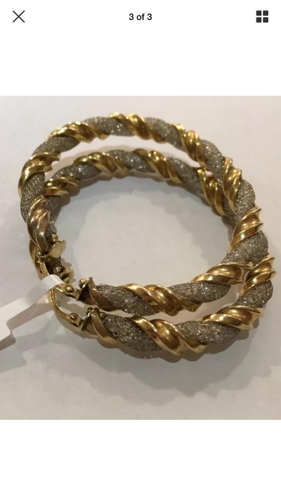 Large 9ct Gold Twisted Hoop Earrings 16grams