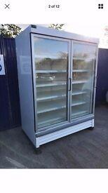 Verco Jumbo 2 Door Glass Fronted Freezer Display Fridge