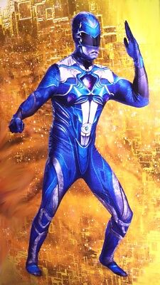 Mens BLUE Power Ranger Tight Bodysuit Halloween Purim Costume M XL 2XL XXL NEW