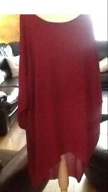 Long Cherry red bat winged top size 18/20