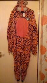 """tiger onesie ( brand new with tags ) size on tag is multi small, 56"""" from shoulder to bottom of leg"""