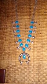 Ornate heavy silver metal and turquoise necklace