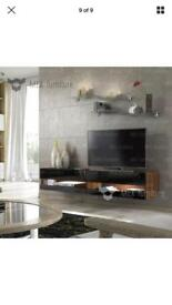 Brand new modern Tv wall unit in black and walnut