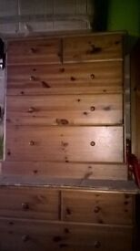 2 x pine chest of drawers