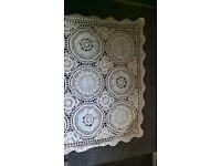Crochet Tablecloth. Cream. Square.