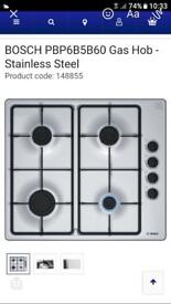 Bosch Stainless Steel Gas Hob - less than a year old