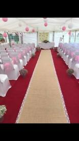 10 meter hessian and lace aisle runner wedding