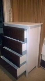 Brand New Ikea BRUSALI 4-drawer dresser, brown & White