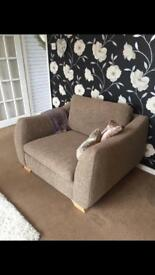 Sofa, cuddle chair and foot stool