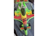 Medium Green Car Wild Wings with flames on it and Green Toy binoculars