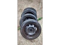 "MERCEDES A CLASS 15"" STEEL WHEELS W168, 5 X 112,IN GOOD CONDITION,TYRES ALL WITH 4/5 MM TREAD"