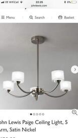 John Lewis Paige Ceiling Light, 5 Arm, Satin Nickel