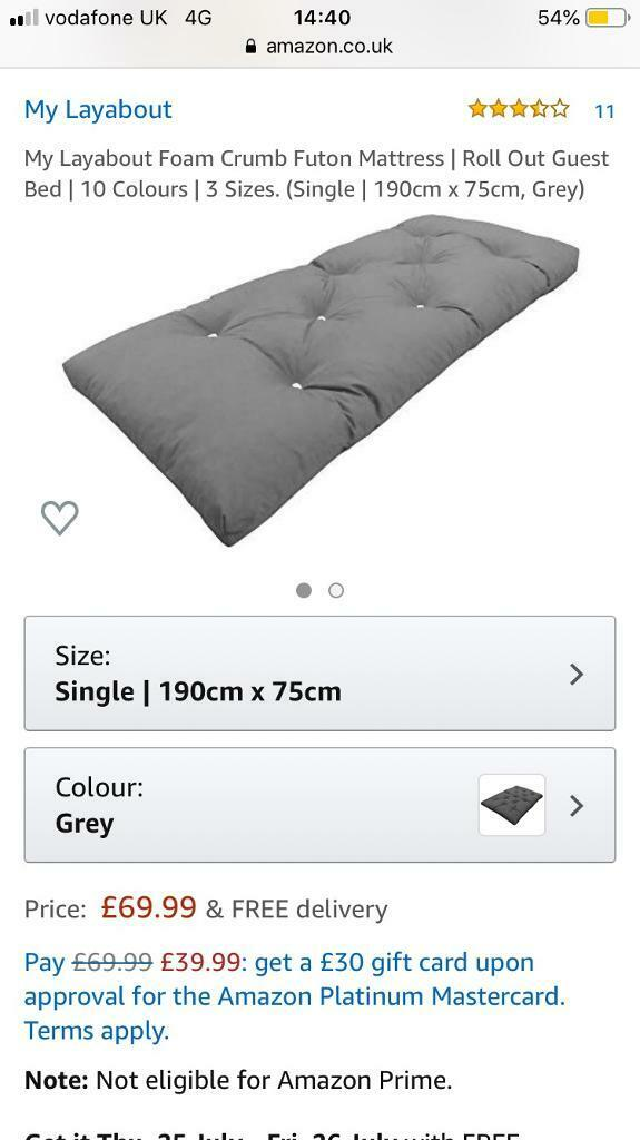 Memory Foam Futon Mattress Roll Out Bed