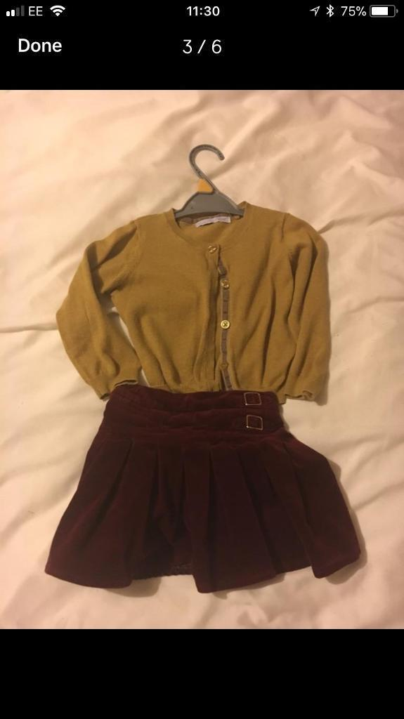 Next cardigan and tu skirt 18-24 month