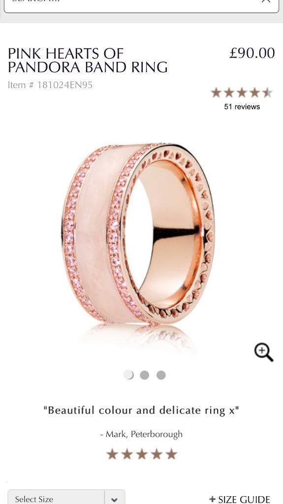 8db65ddeb ... Pink Hearts of Pandora ring size 54 ...