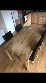 Solid Oak dining / kitchen table and 4 chairs