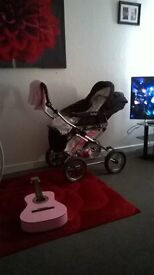 baby style bouncy puschair with 2 seats