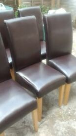 x4 Willis & Gambier Originals Brown Faux Leather Dining Chairs