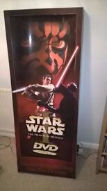 star wars episode 1, the phantom menace dvd point of sale display, rare collectable