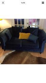 Blue velvet 2 seater sofa