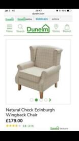 £170 off RRP - Dunelm cream checked wingback chair & footstool RRP £230