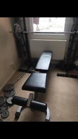 Weights, Weights Bench, Squat Rack, Dumbbells and Bar