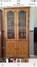 Solid pine and glass cabinet with interior lights