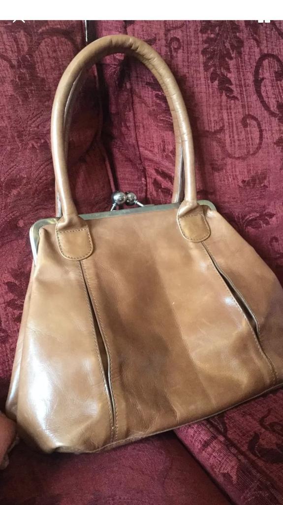Oasis tan leather ladies handbag