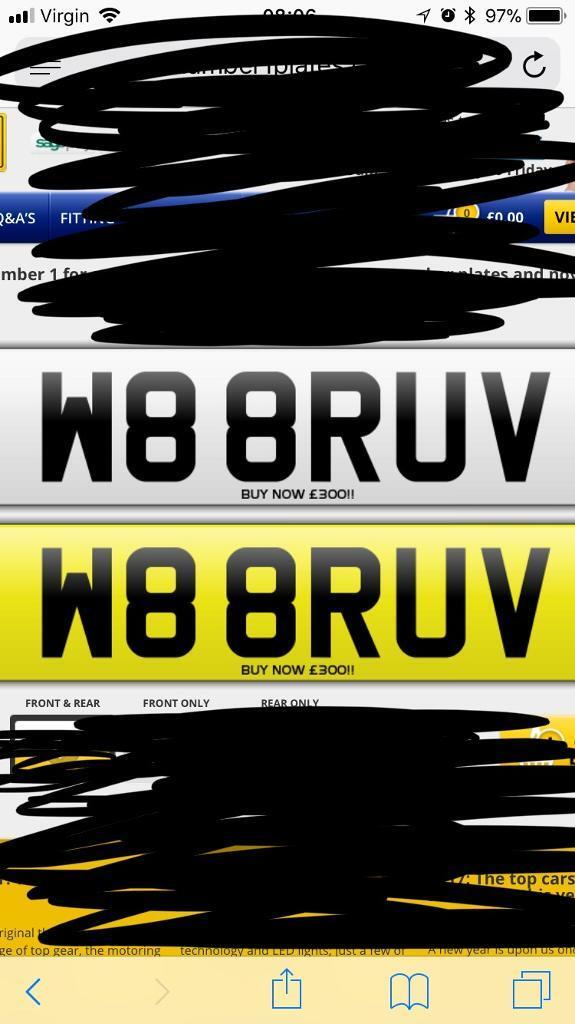 PRIVATE REG FOR SALE W8 8RUV