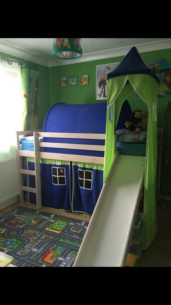 Kids Cabin Bed With Slide Ladder Tent