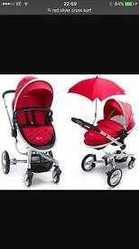 SilverCross Pushchair and CarSeat Red