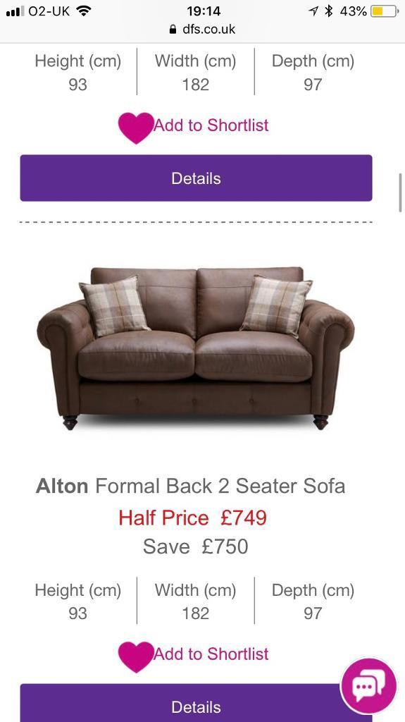 Dfs Oakland Formal 2 Seater Sofa Accent Chair And Footstool In