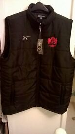 Gloucester Rugby Mens Black Gilet with embroidered crest and XBlades logo