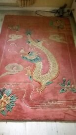 Vintage Chinese Pure Wool Pink Cream Rug Dragon Motif