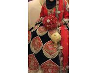 Red and navy Asian bridal dress