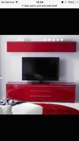 Gloss Red TV Unit and Shelf Teddington