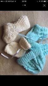 Newborn baby hat and booties hand knit