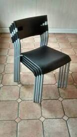 IKEA Laver Black Stackable Chairs. Set of 4.