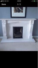MARBLE FIREPLACE WITH GAS INSERT