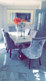 2M CREAM MARBLE TOP WITH 6 SILVER VELVET CHAIRS PERFECT CONDITION 7 MONTHS OLD