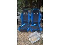 black and blue bucket seats